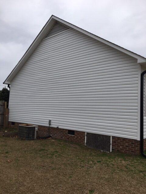 New siding on side of home